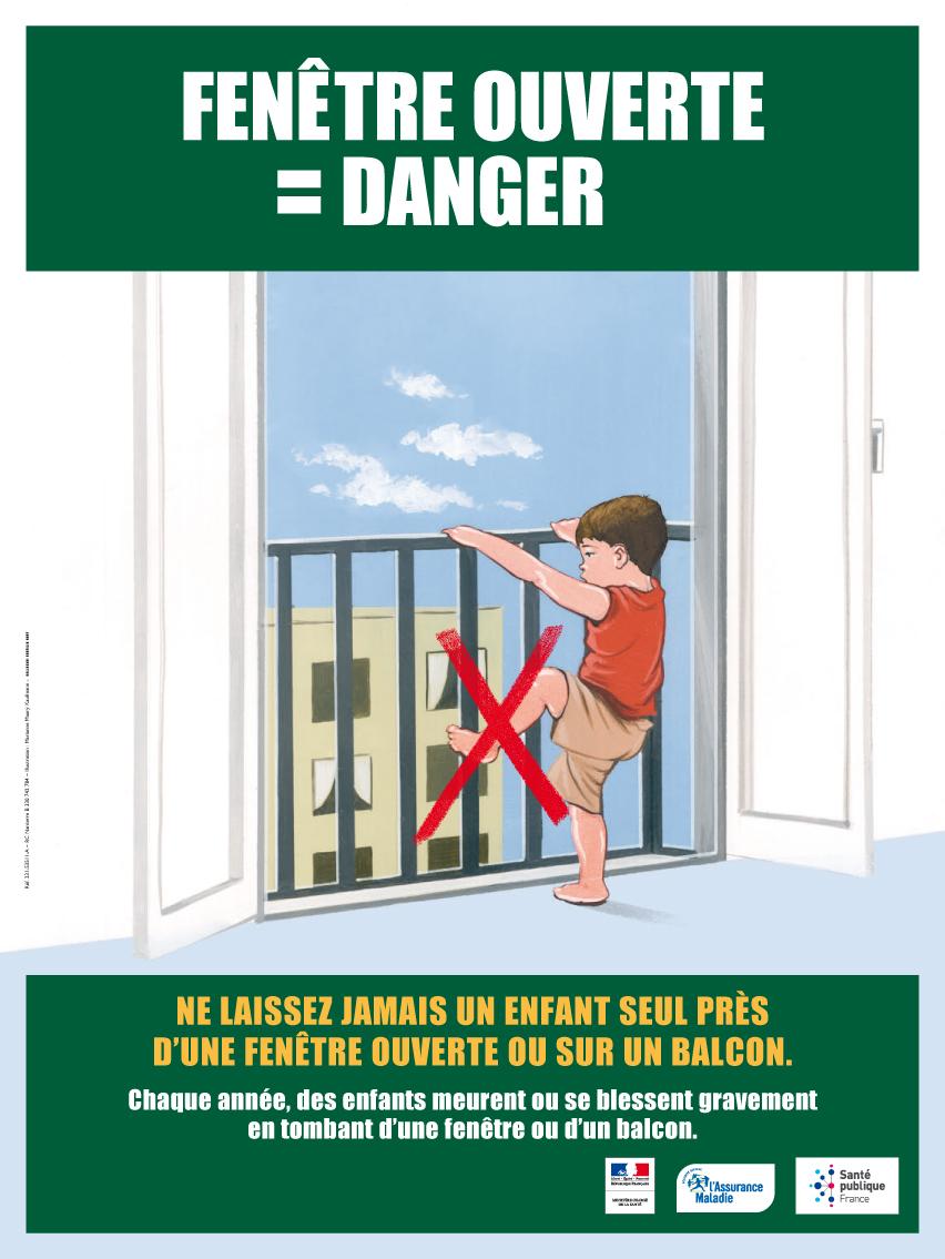 Fenêtre ouverte = Danger - Affiche garcon  40X60 cm