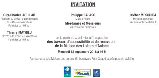 Carton invitation inauguration Maison des Loisirs 12 sept 18