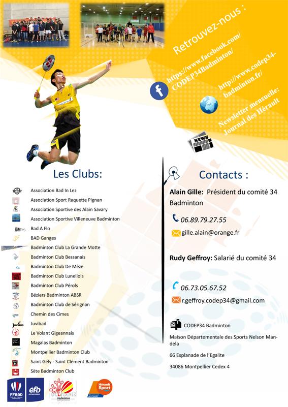 Flyer Comité Badminton aniane verso