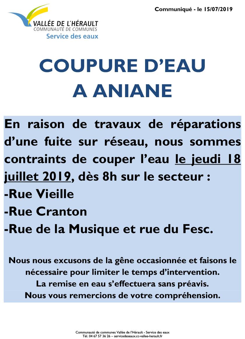 Communiqué Coupure eau 18 07 19_Aniane