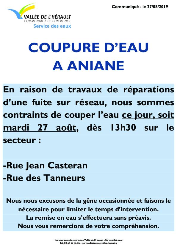 Communiqué Coupure eau 27 08 2019_Aniane