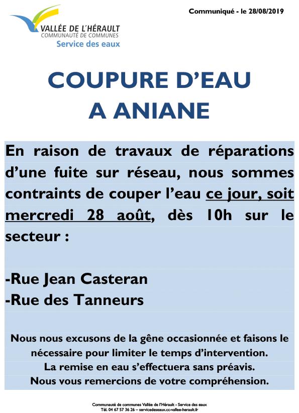 Communiqué Coupure eau 28 08 2019_Aniane