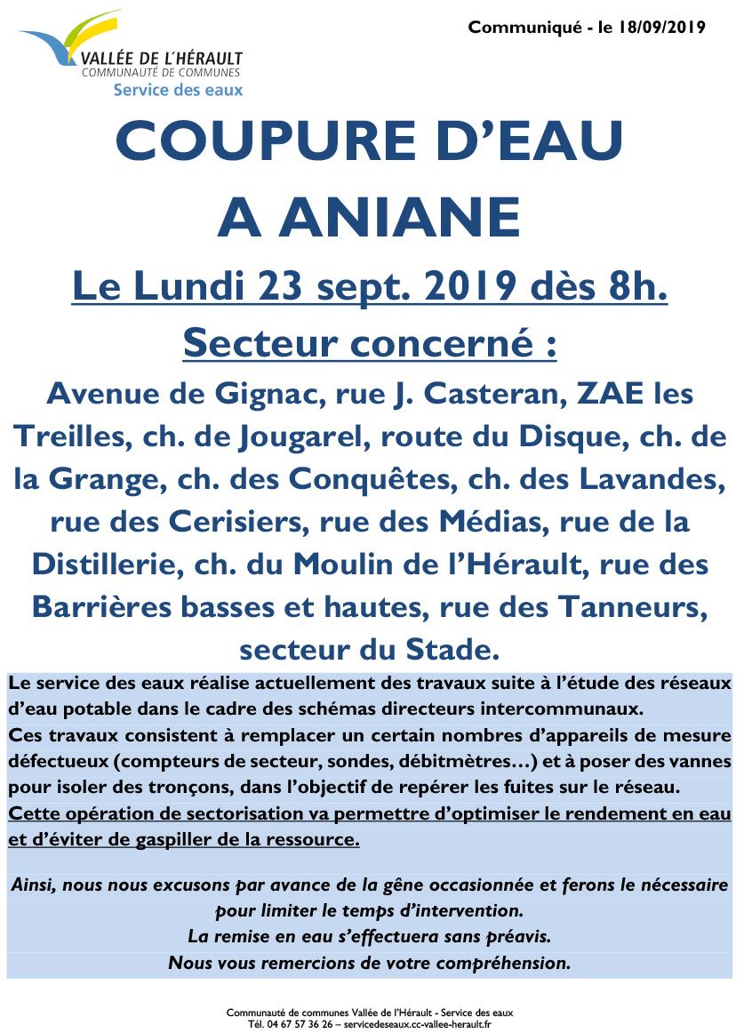 Communiqué Coupure eau Lu 23 09 19 Aniane 8h
