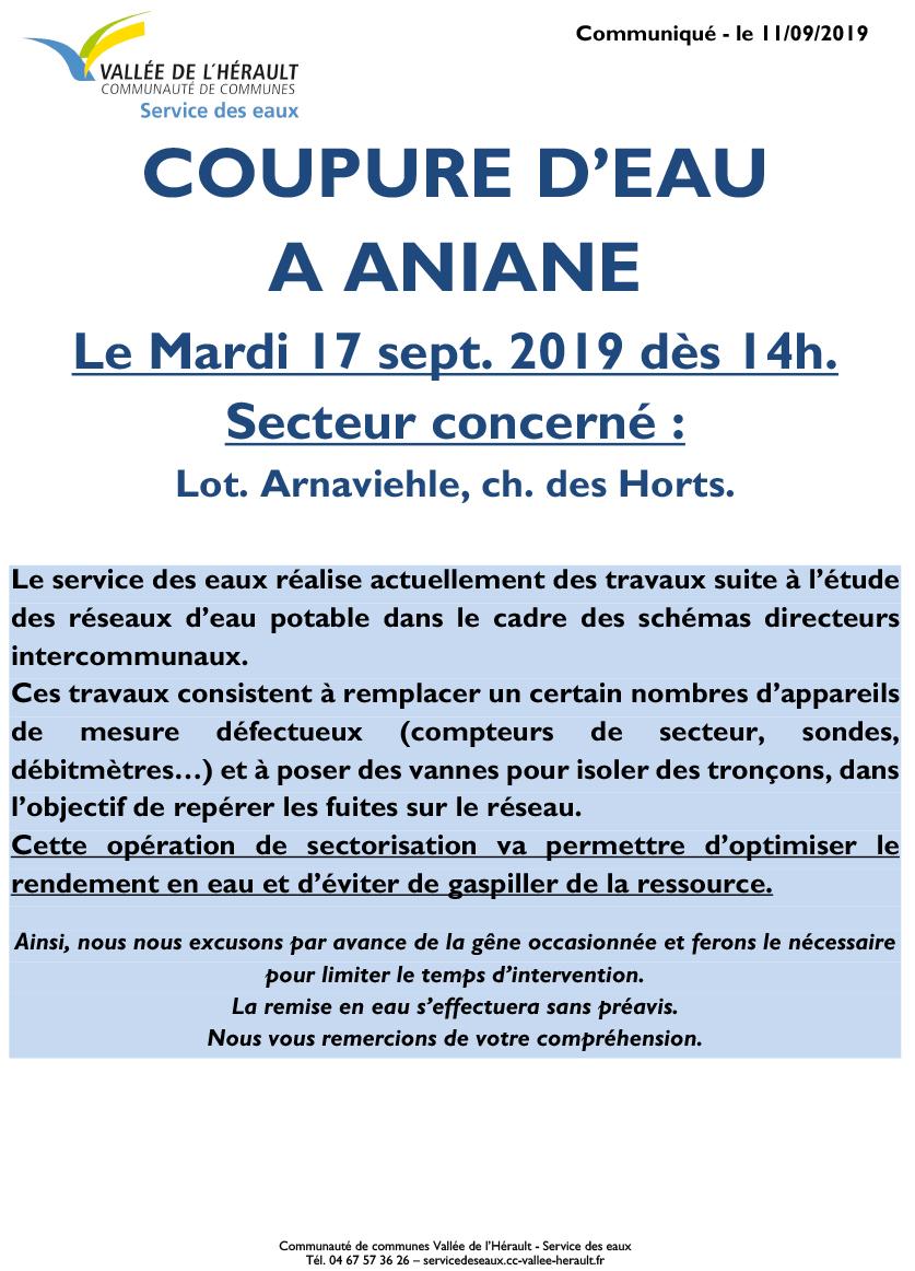 Communiqué Coupure eau Ma 17 09 19 Aniane 14h