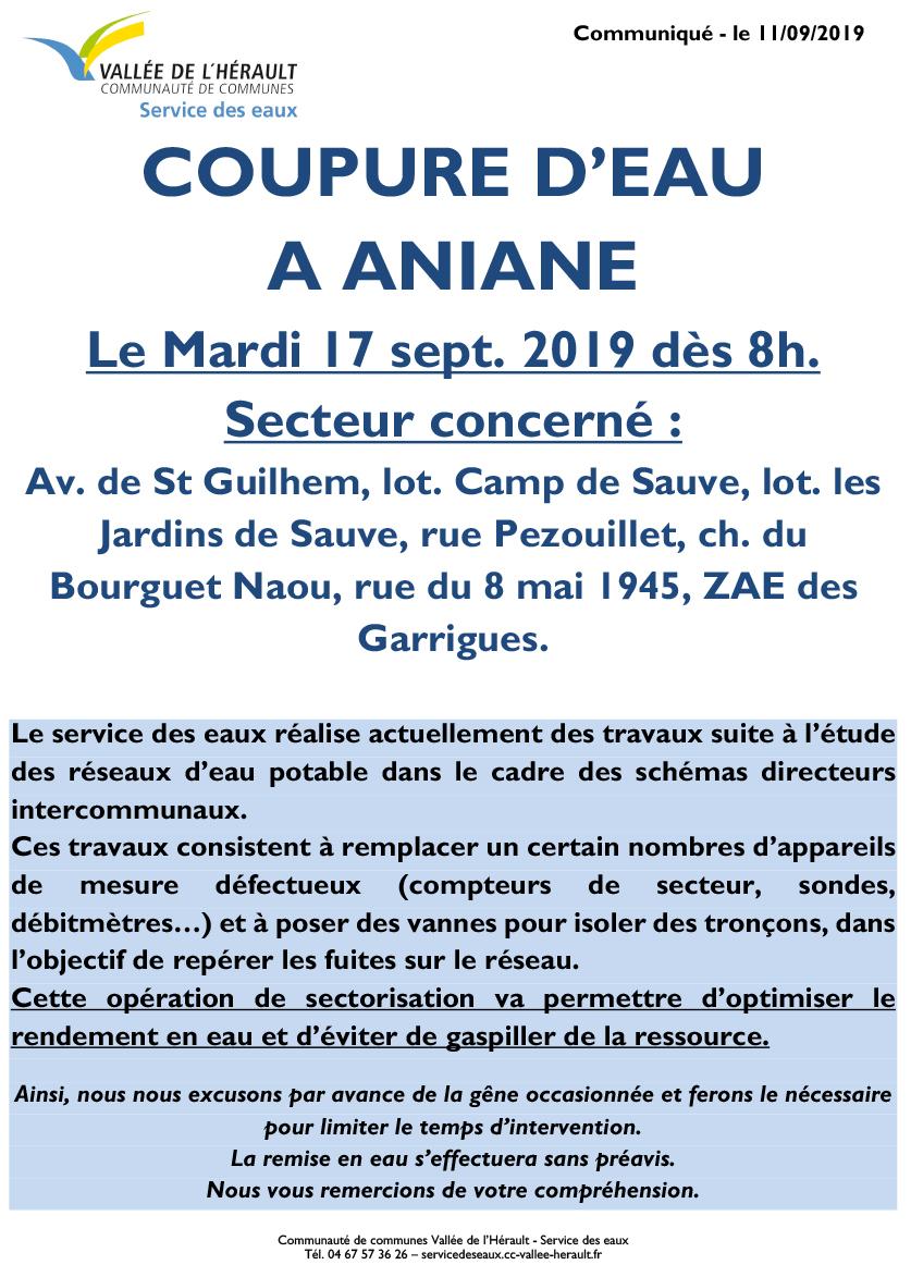 Communiqué Coupure eau Ma 17 09 19 Aniane 8h