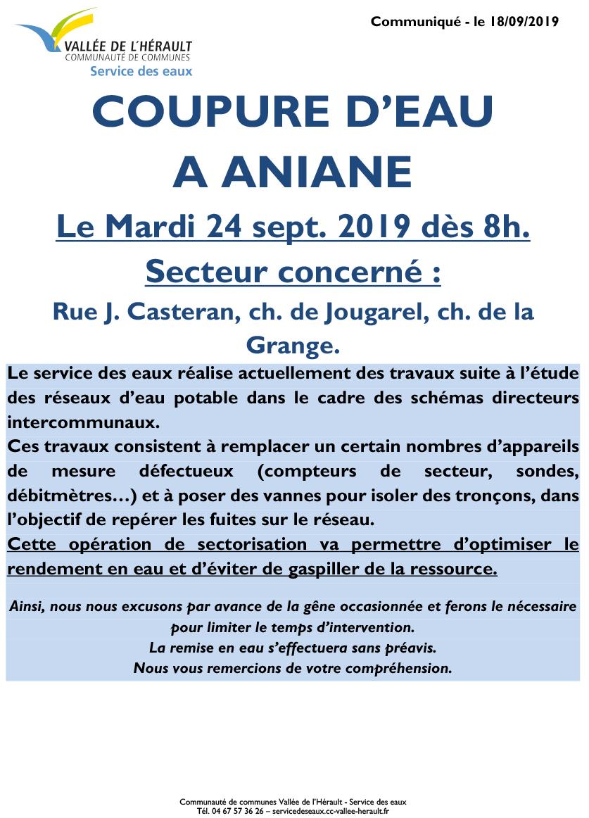 Communiqué Coupure eau Ma 24 09 19 Aniane 8h