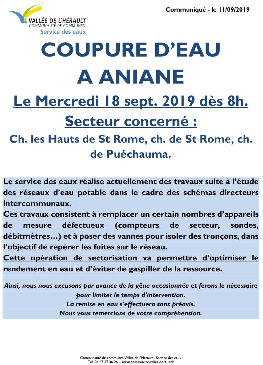 Communiqué Coupure eau Me 18 09 19 Aniane 8h