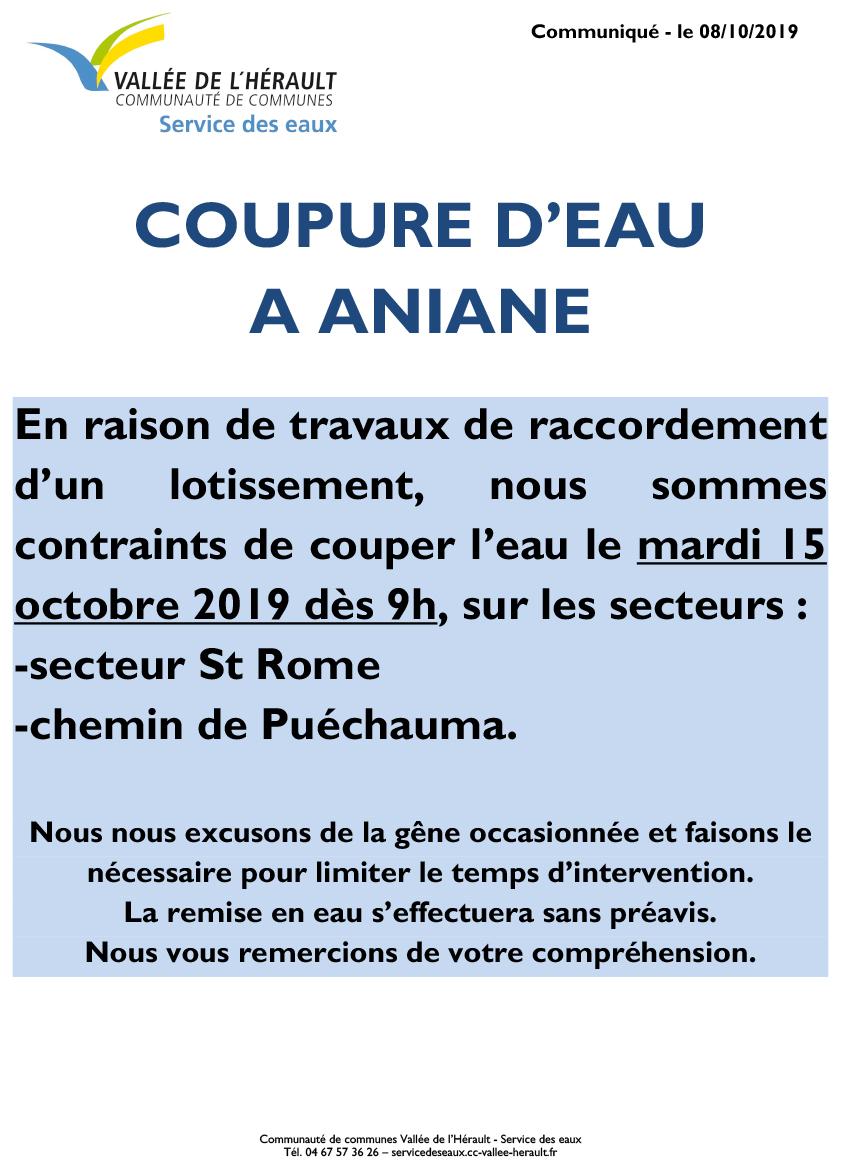 Communiqué Coupure eau 15 10 2019_Aniane