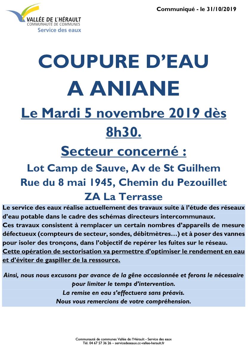 Communiqué Coupure eau 5 11 19 Aniane 8h30