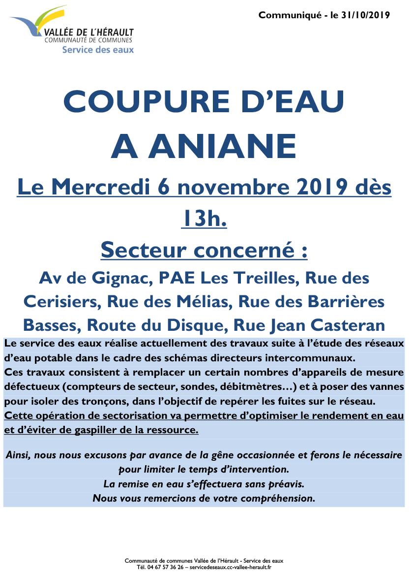 Communiqué Coupure eau 6 11 Aniane 13h