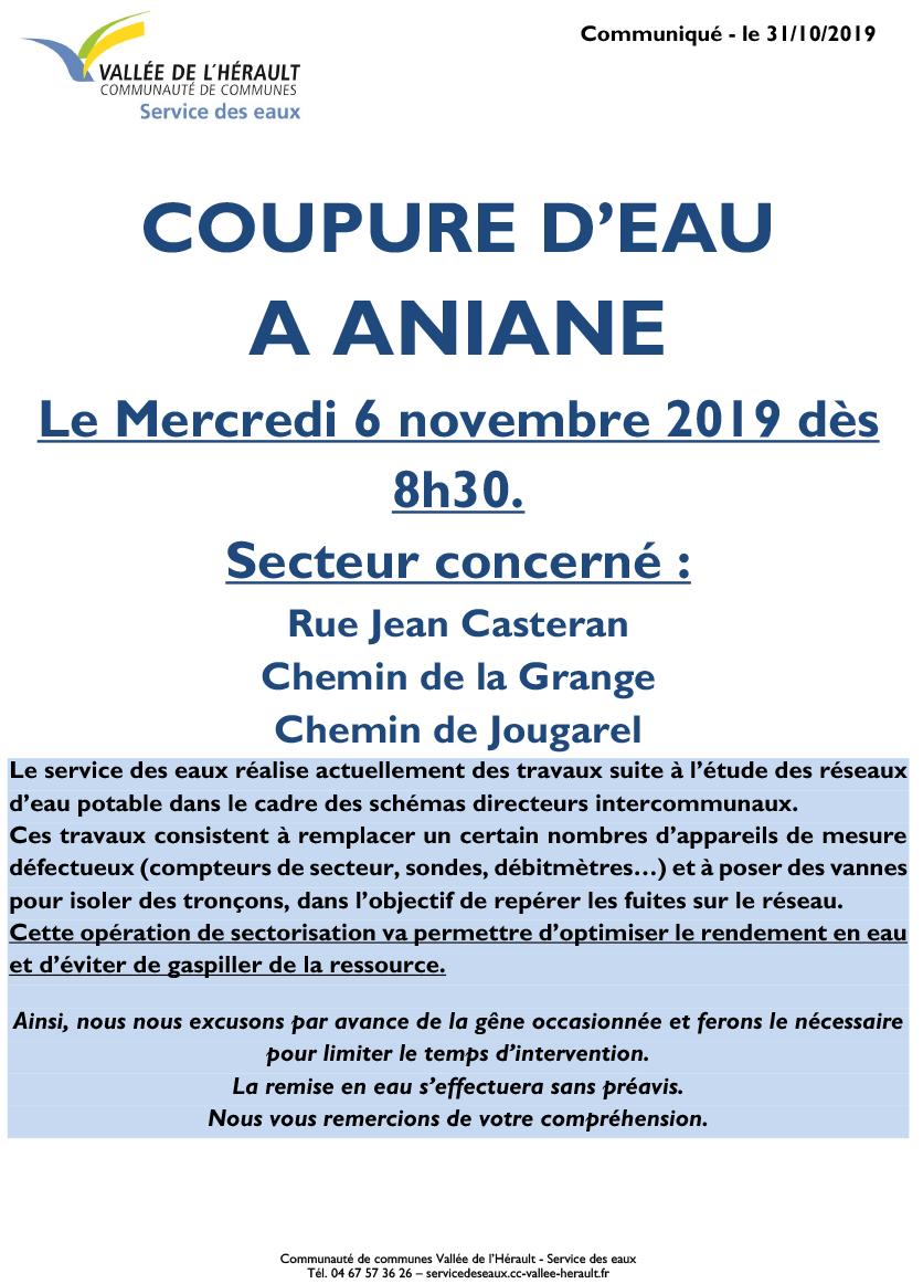 Communiqué Coupure eau 6 11 Aniane 8h30