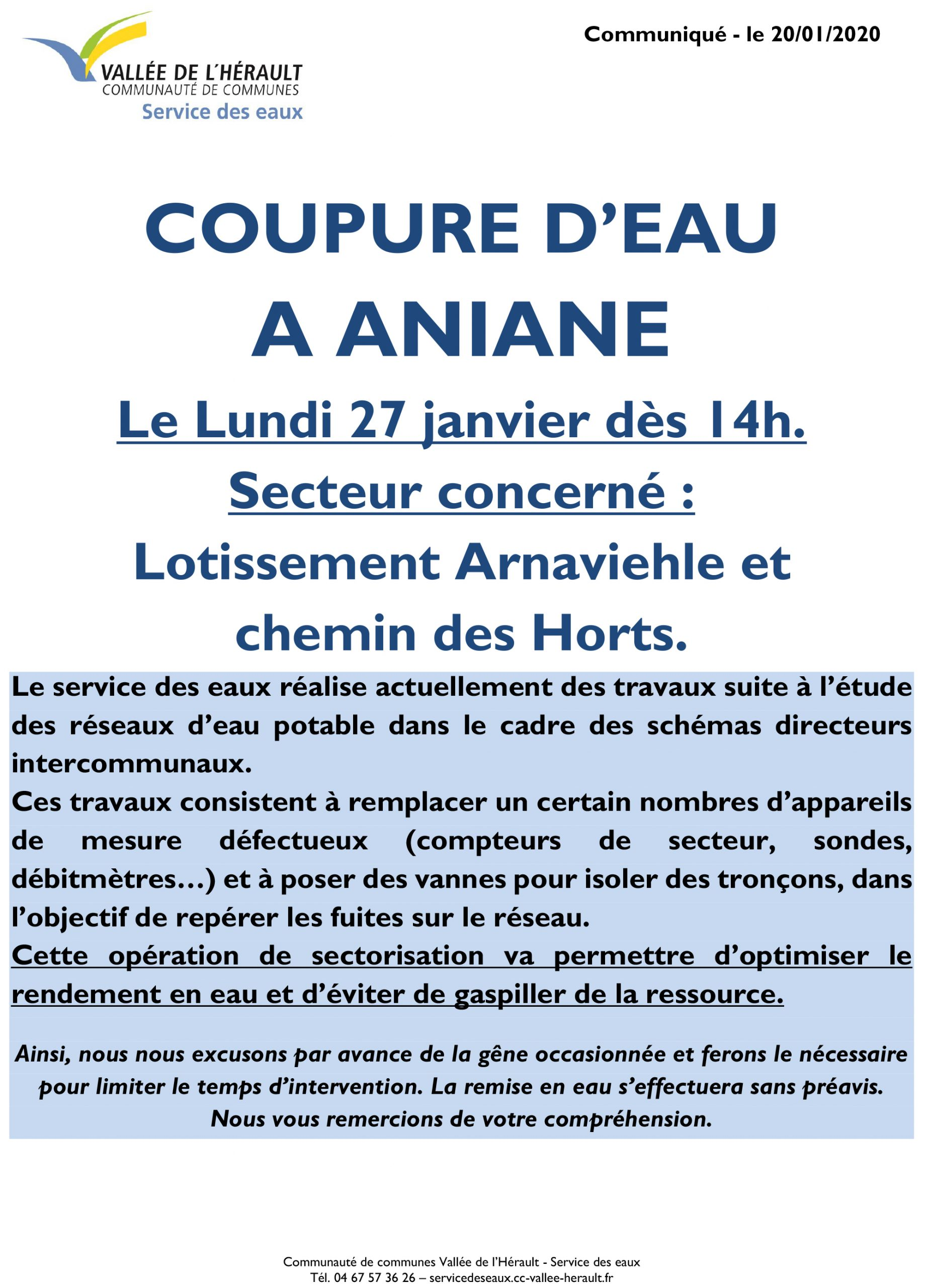 Communiqué Coupure eau 27 01 2020 Aniane