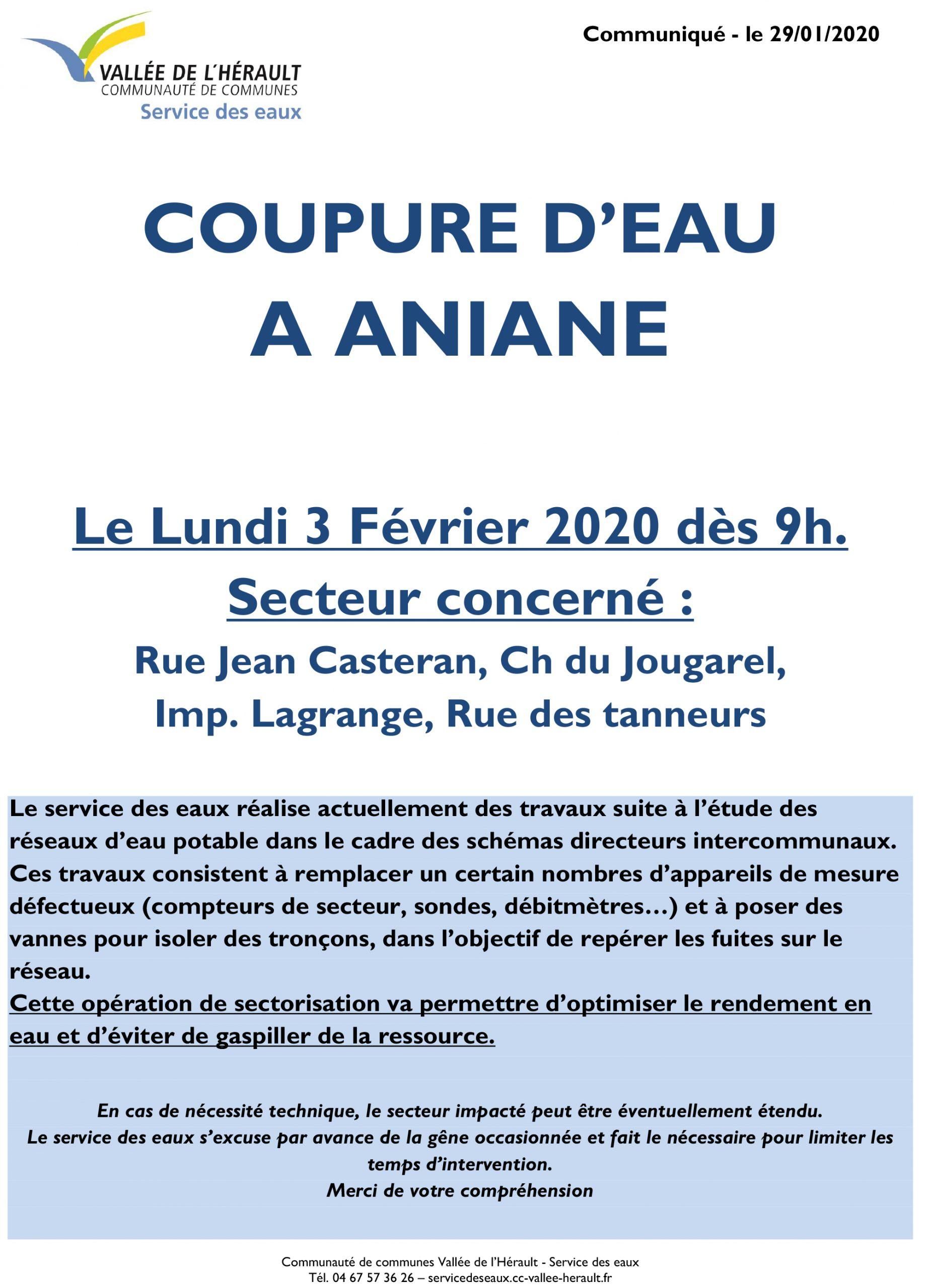 Communiqué Coupure eau 3 02 20 Aniane