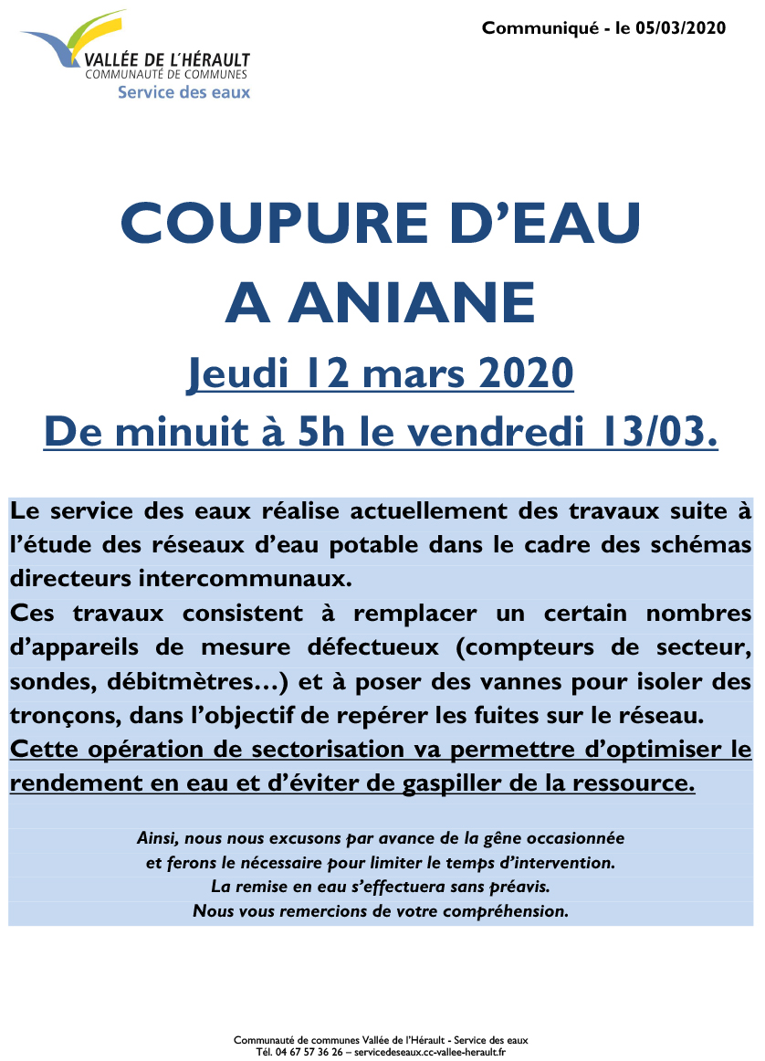 Communiqué Coupure eau Je 12 03 20 Aniane Minuit