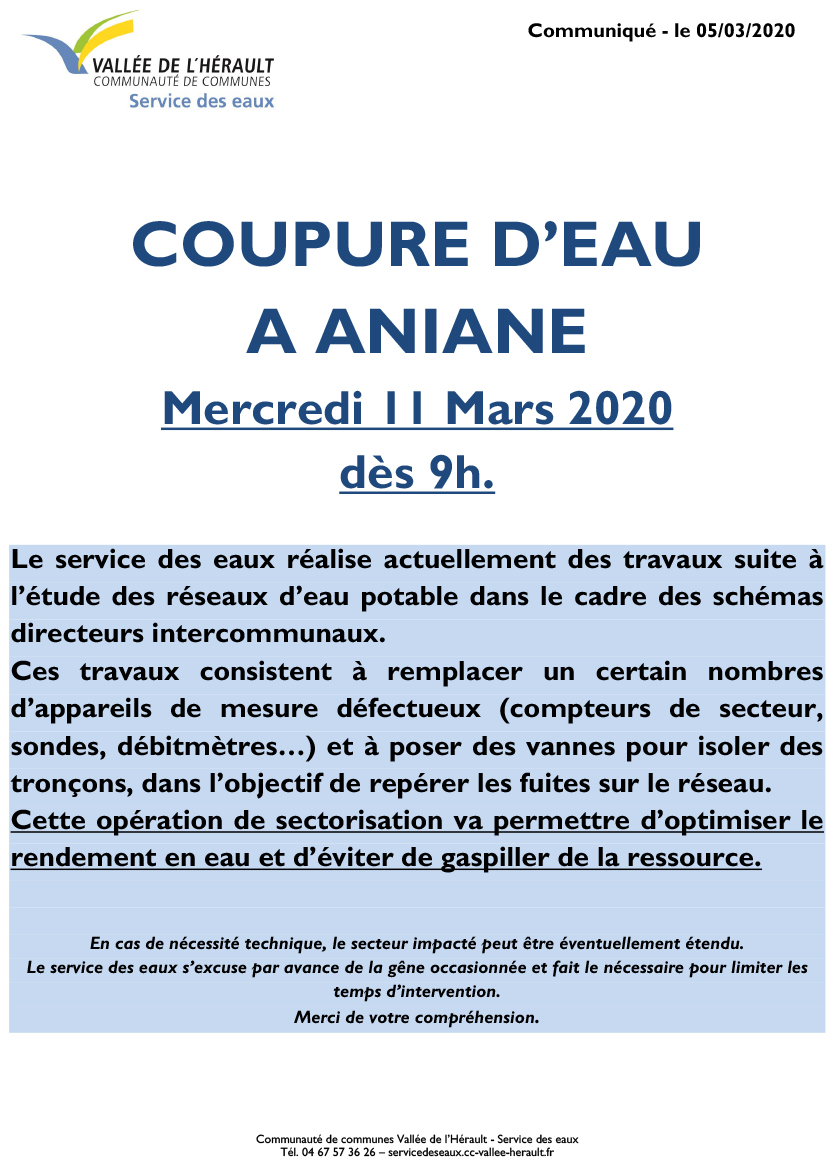 Communiqué Coupure eau Me 11 03 20 ANIANE