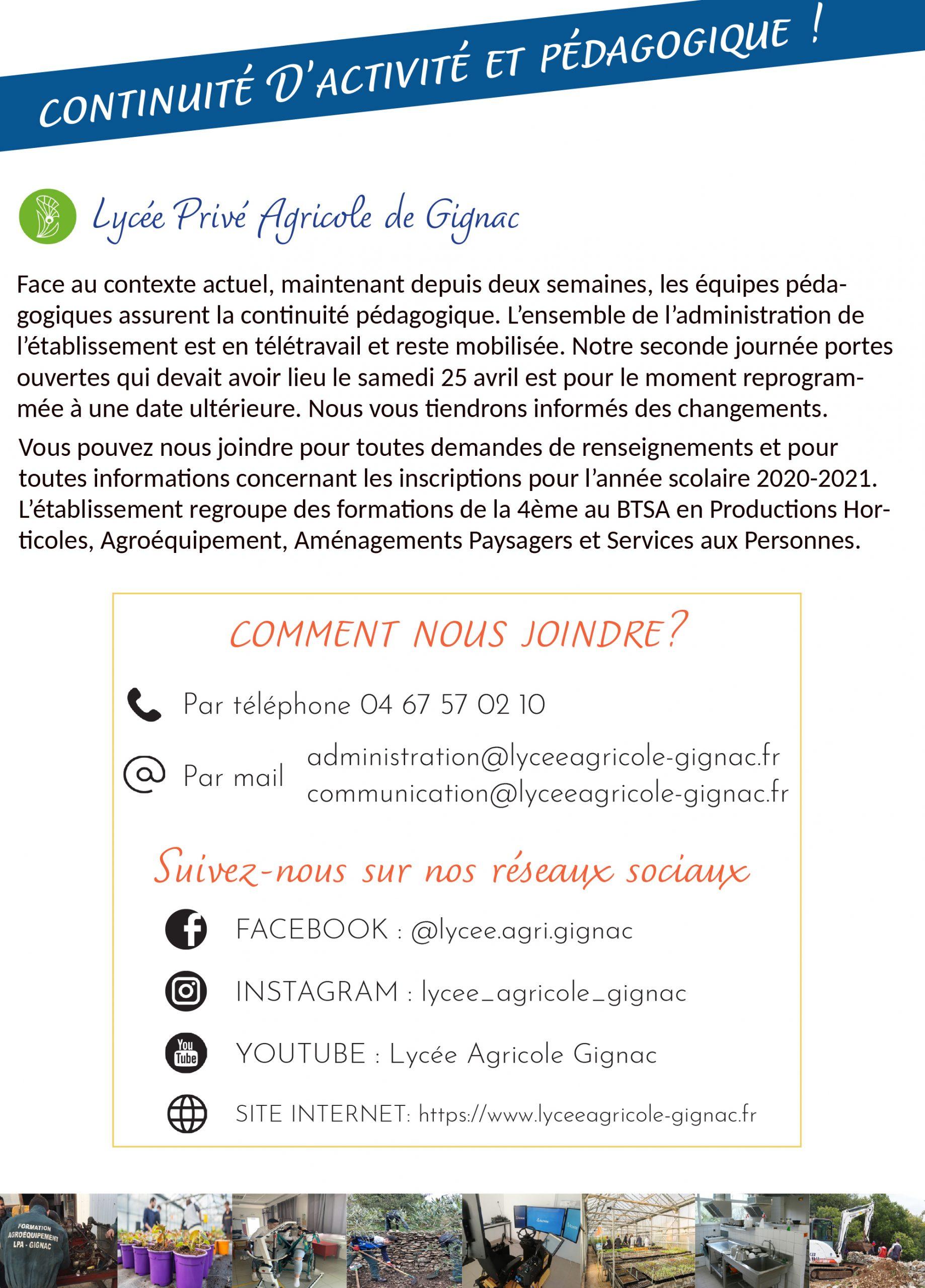 CONTINUITE DE SERVICE LYCEE AGRICOLE DE GIGNAC