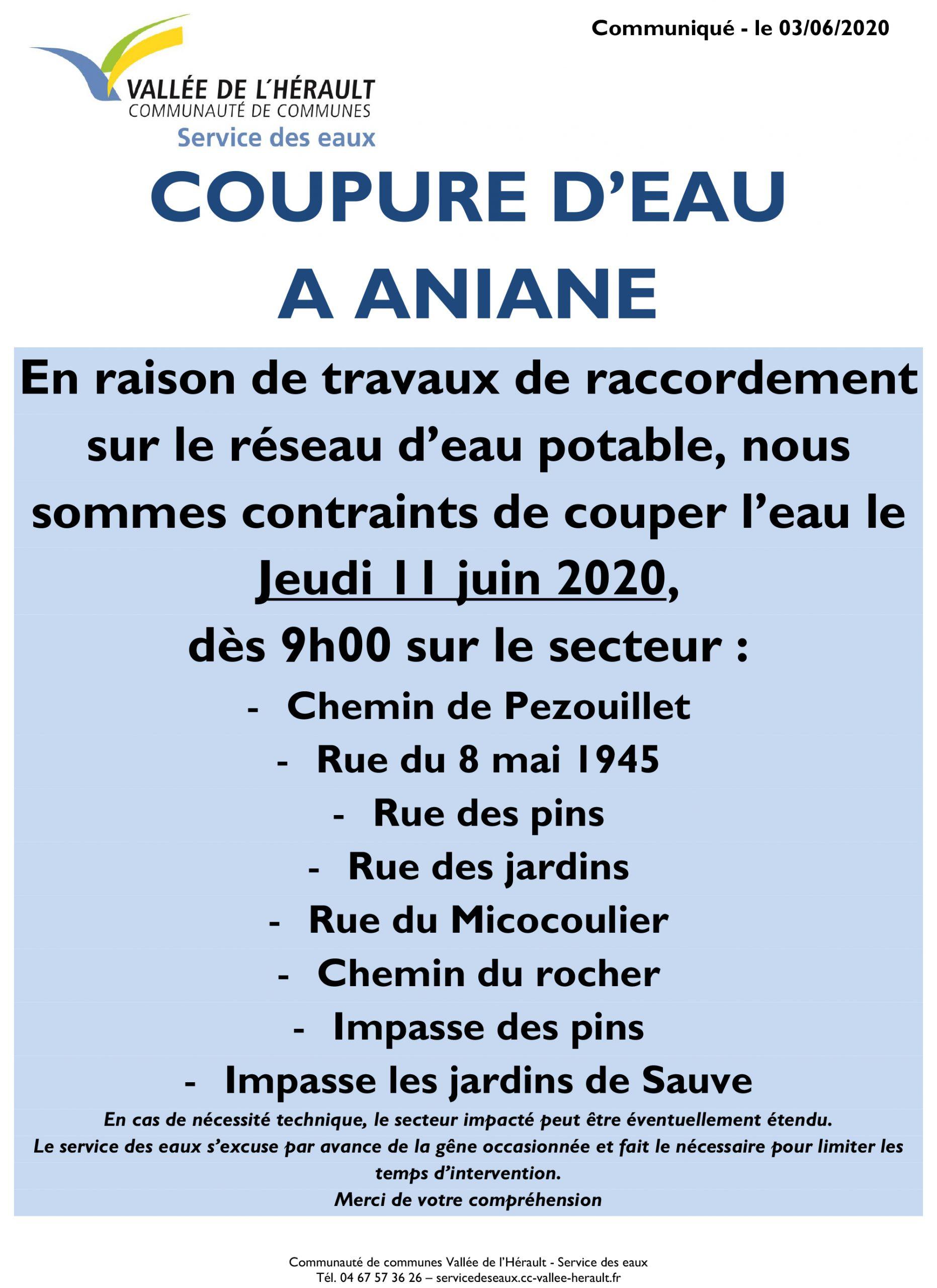 Communiqué Coupure eau 11 06 2020 _Aniane