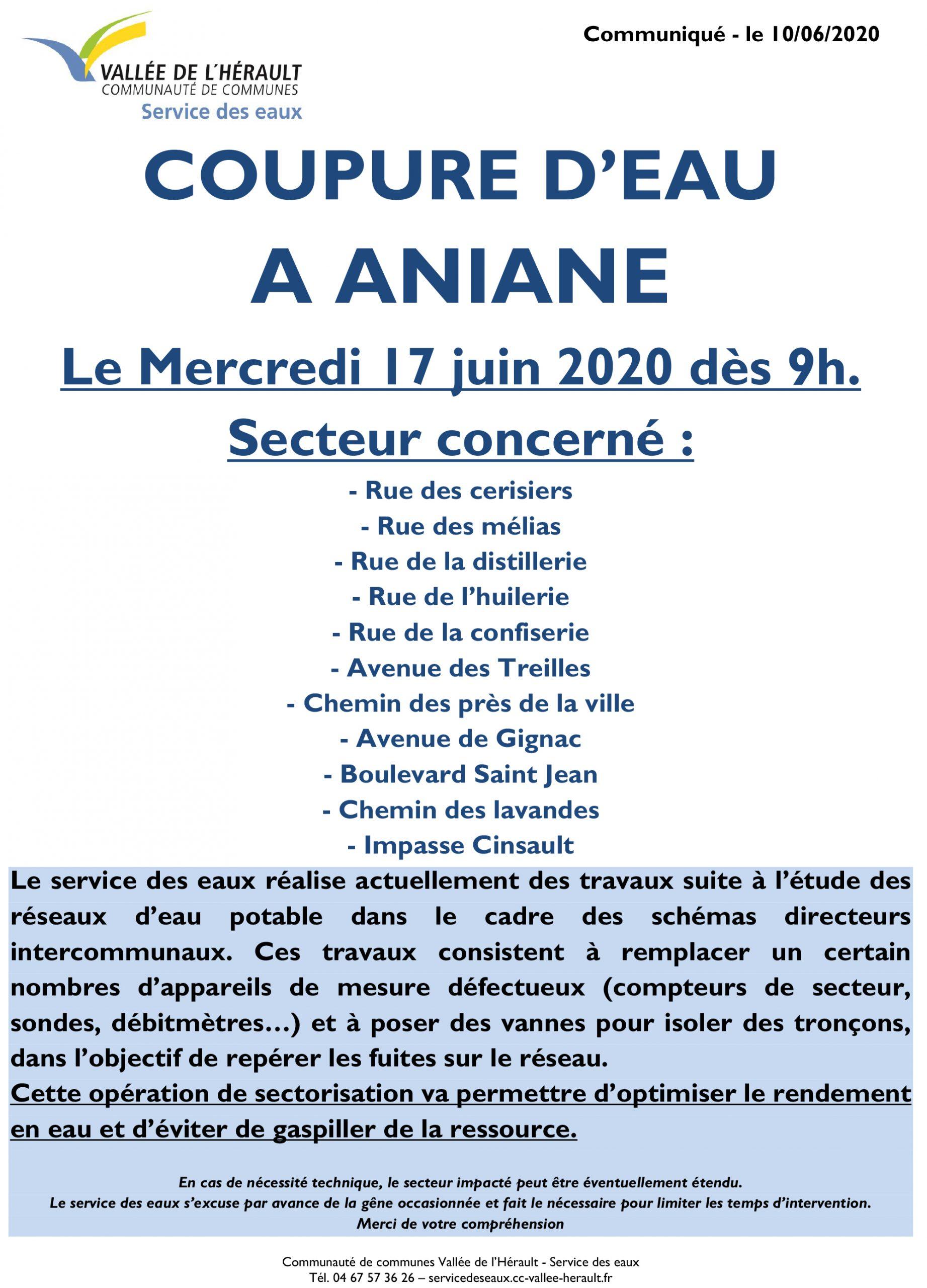 Communiqué Coupure eau 17 06 2020 Aniane