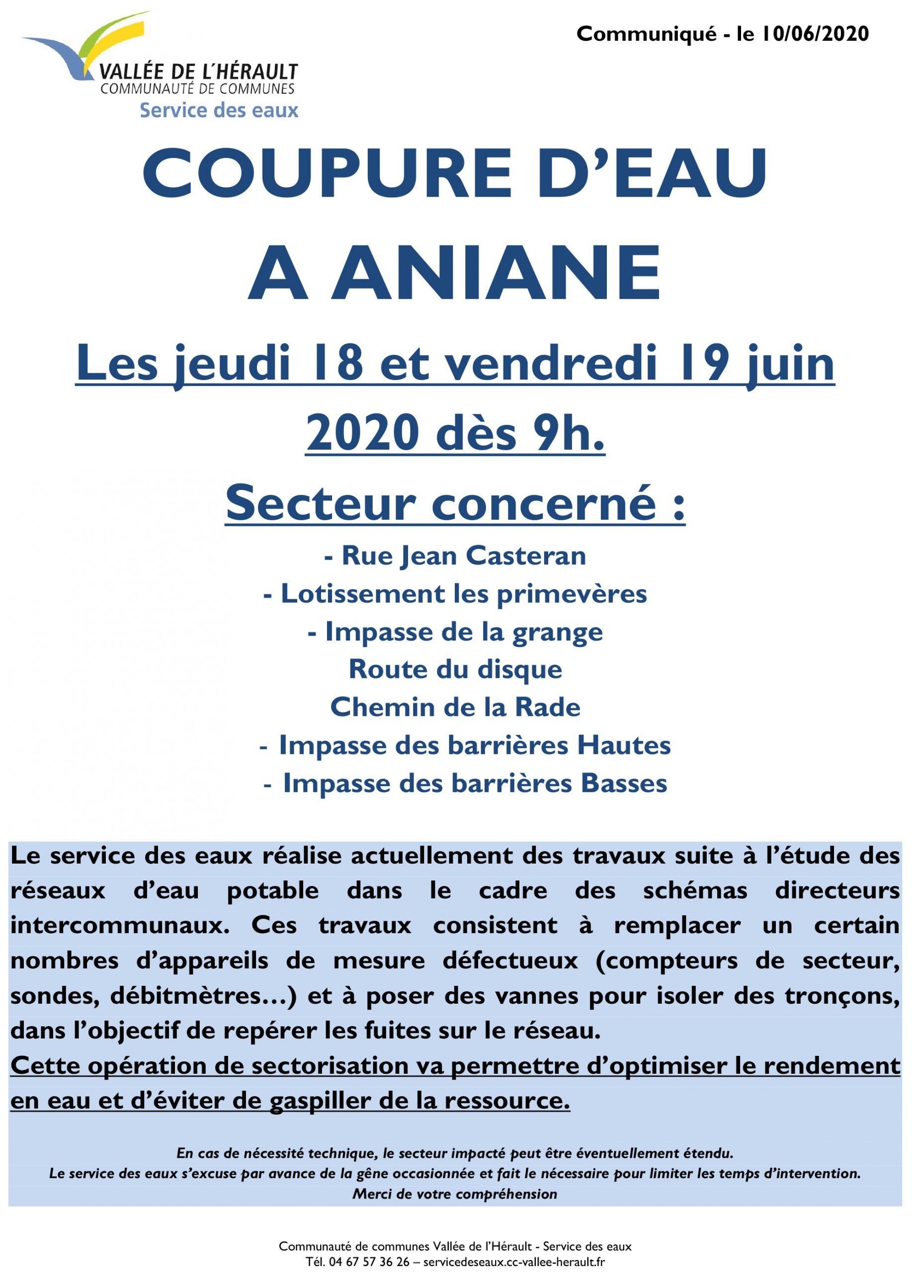 Communiqué Coupure eau 18 et 19 06 2020 Aniane