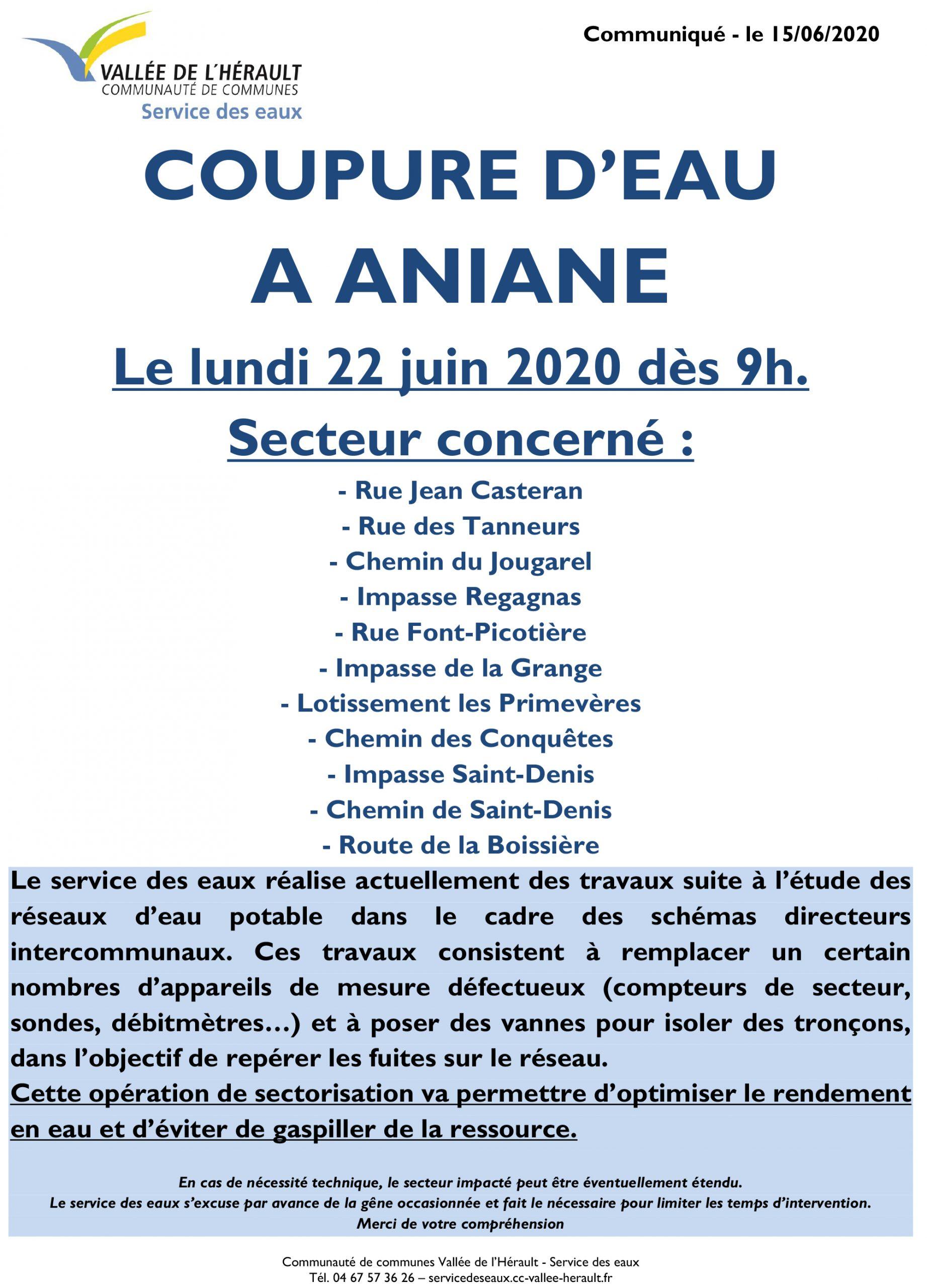 Communiqué Coupure eau 22 06 2020 Aniane ANI06