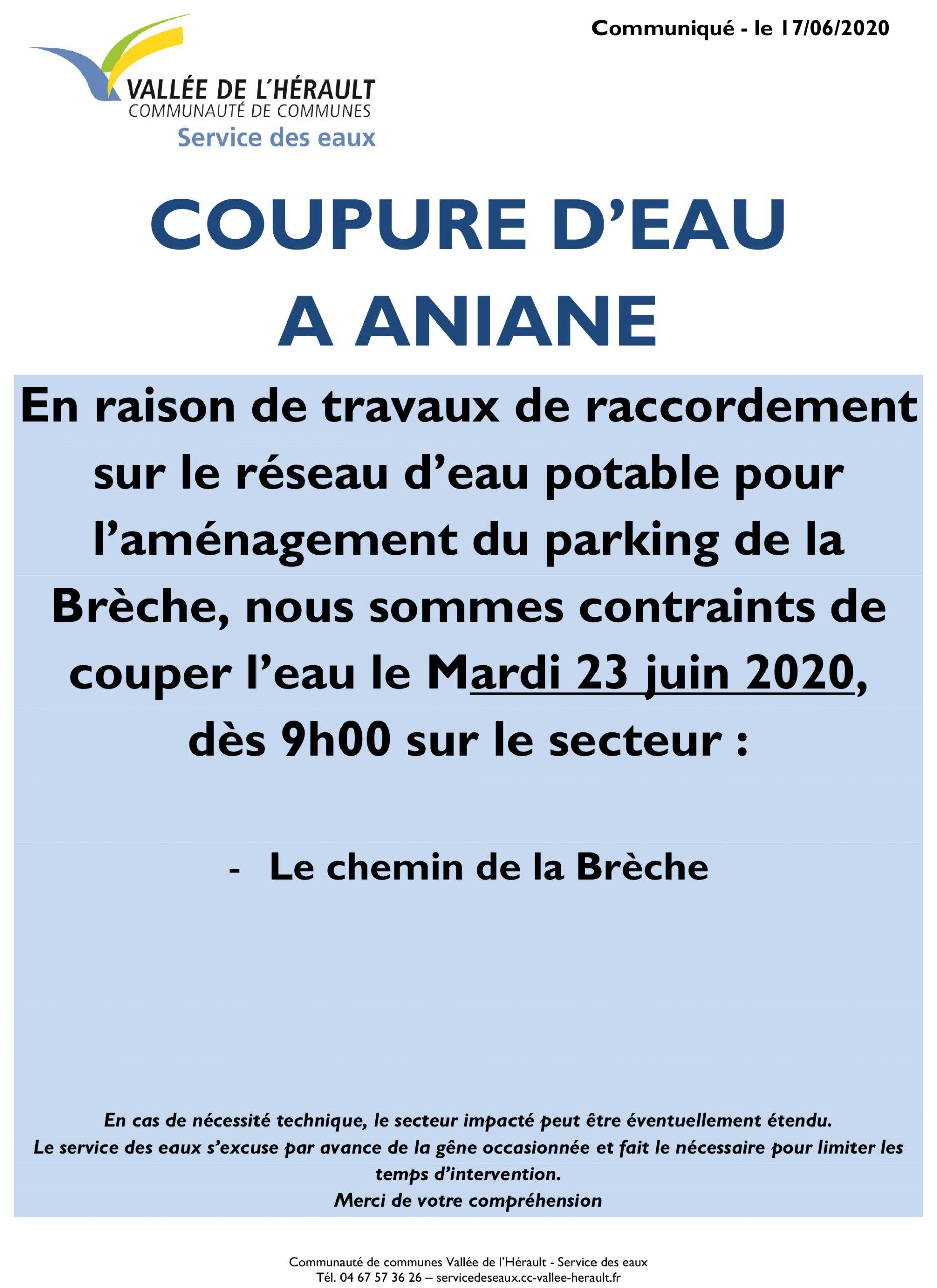 Communiqué Coupure eau 23 06 2020 _Aniane