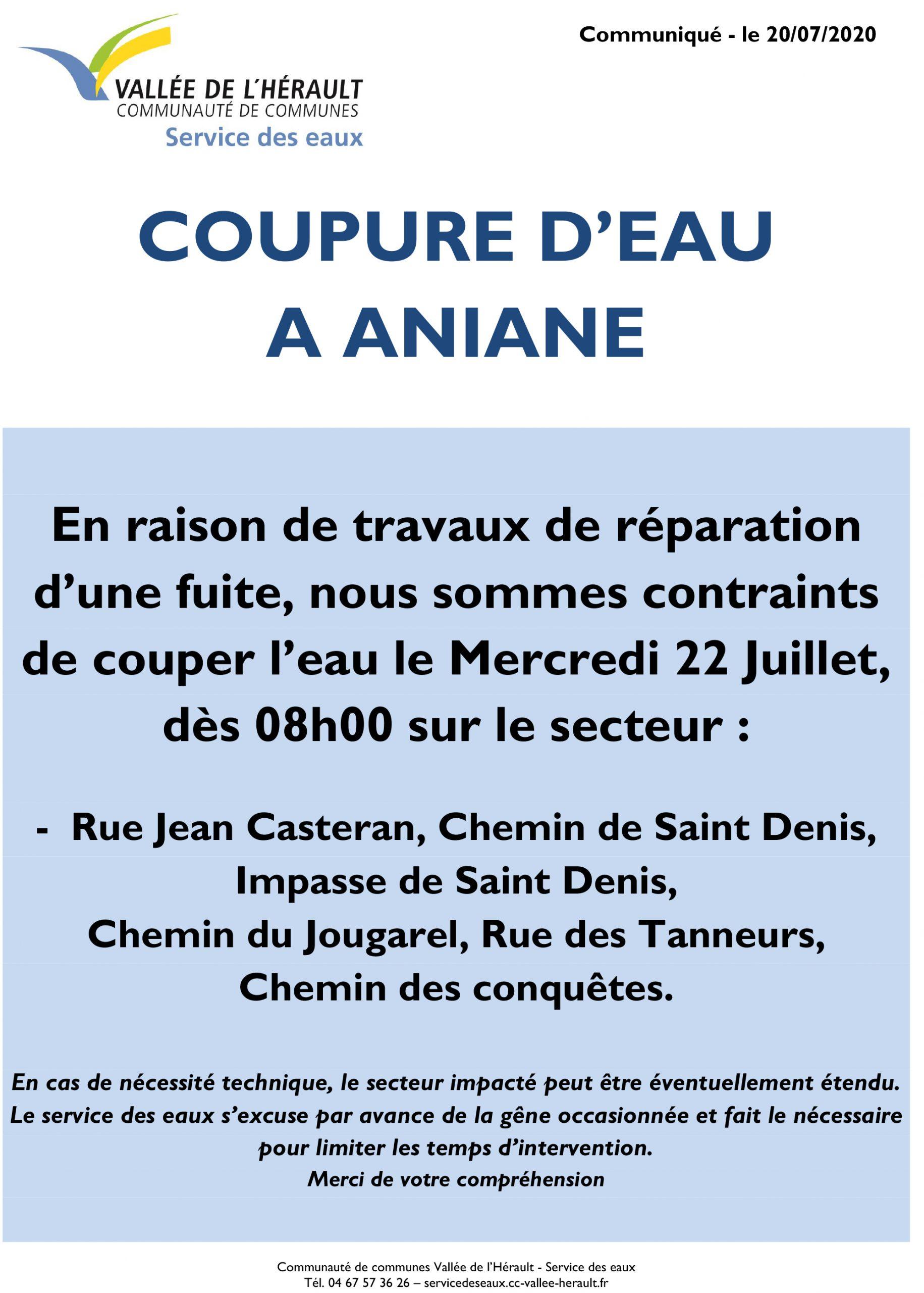 Communiqué Coupure eau 22.07.2020_Aniane