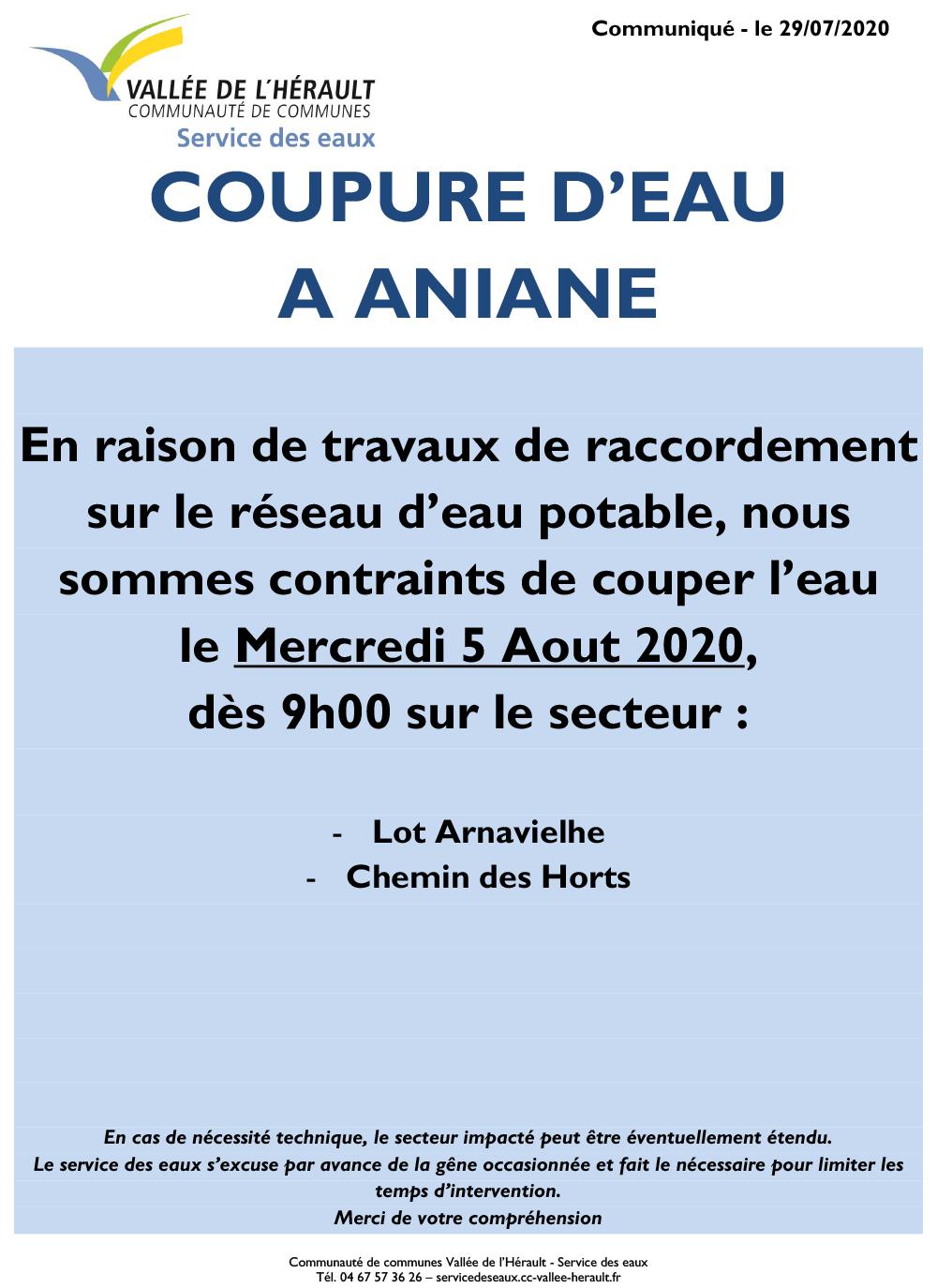 Communiqué Coupure eau 5 08 2020 _Aniane