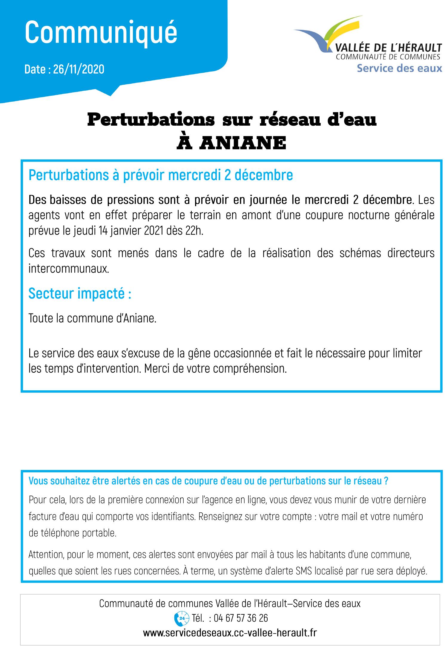 Communiqué Perturbations réseau Aniane 02 12 20