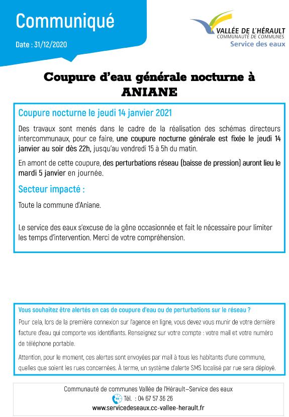 Communiqué Coupure eau nocturne Aniane_14 01 21