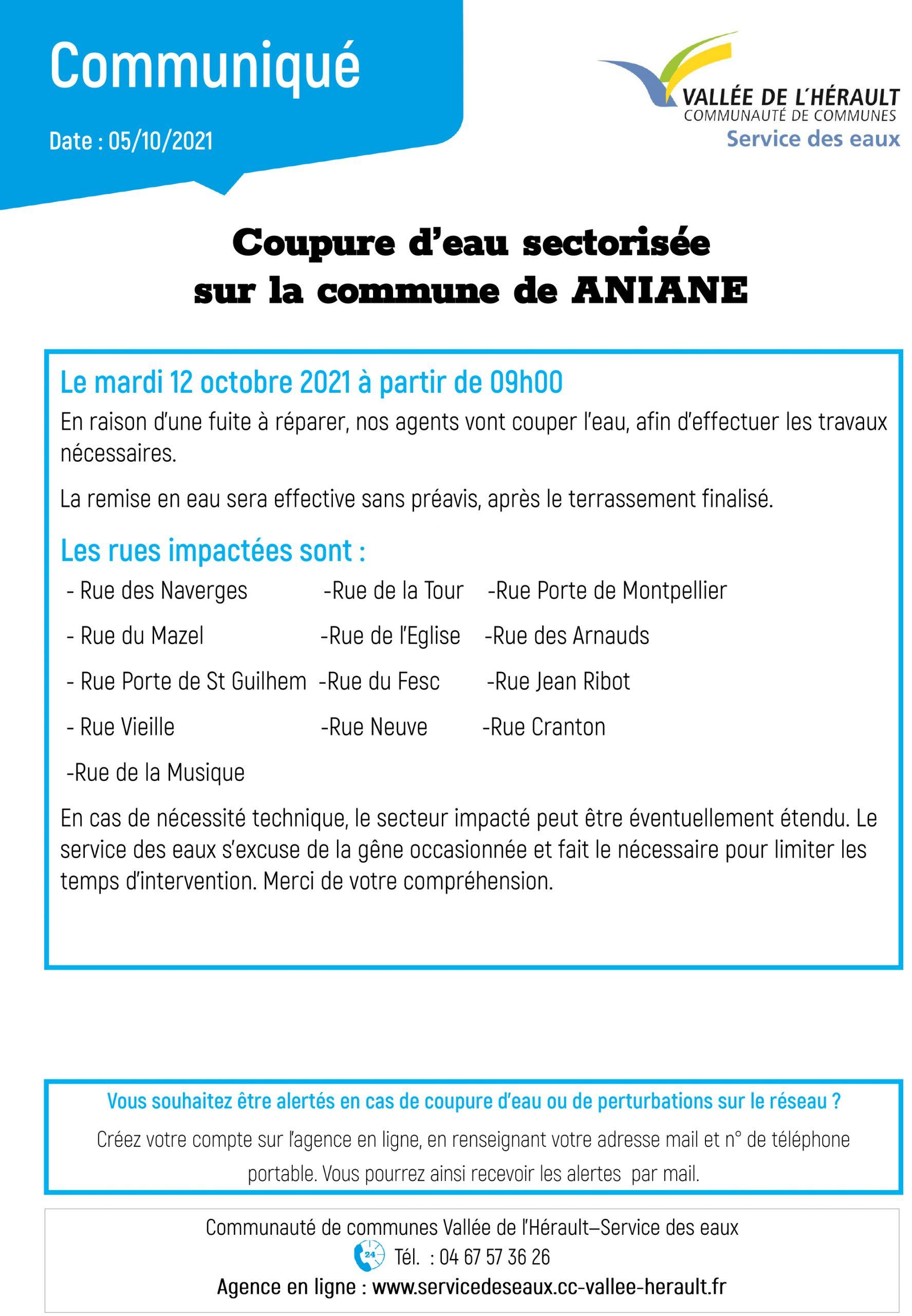 comuniqué coupure eau 12 10 2021 ANIANE